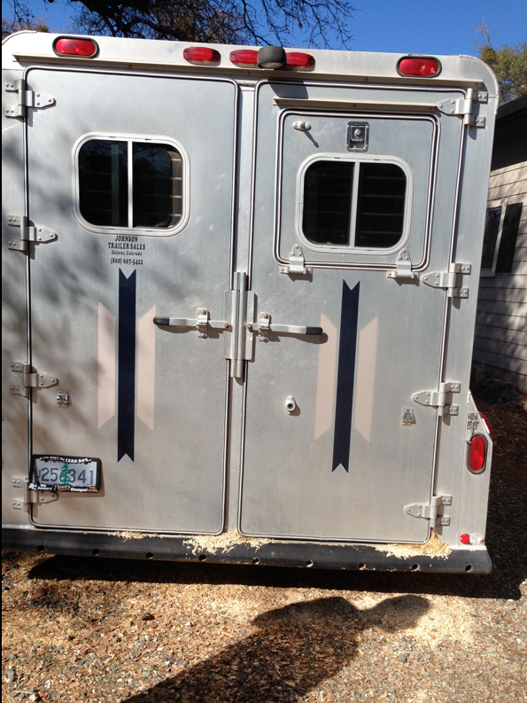 I have a 4Star Gooseneck 2 horse trailer diagonal slant with removable divider and 50/50 doors.  (If I could do it over, I would get a full door.)  You can see Hubby's shadow as we ready to put me inside.