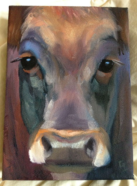 "This is my cow face by Glenn Lyles.  It is titled ""Cover Girl"" and it is 5""x7"""