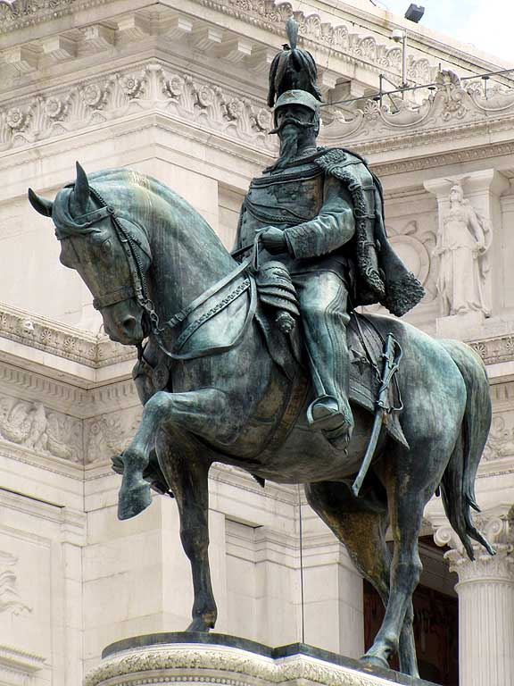 This is the largest statue in Rome.  It stands 12' high on top of a 40' marble stand in front of the Vittoriano.