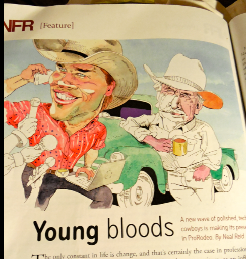 From AMERICAN COWBOY magazine... an illustration has to grab you and make you understand the article in a snapshot.  This piece does that for me.  New style cowboy compared to old style...