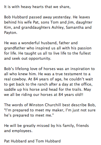 Thank you, Bob... you were very good to me and my horses over the years.