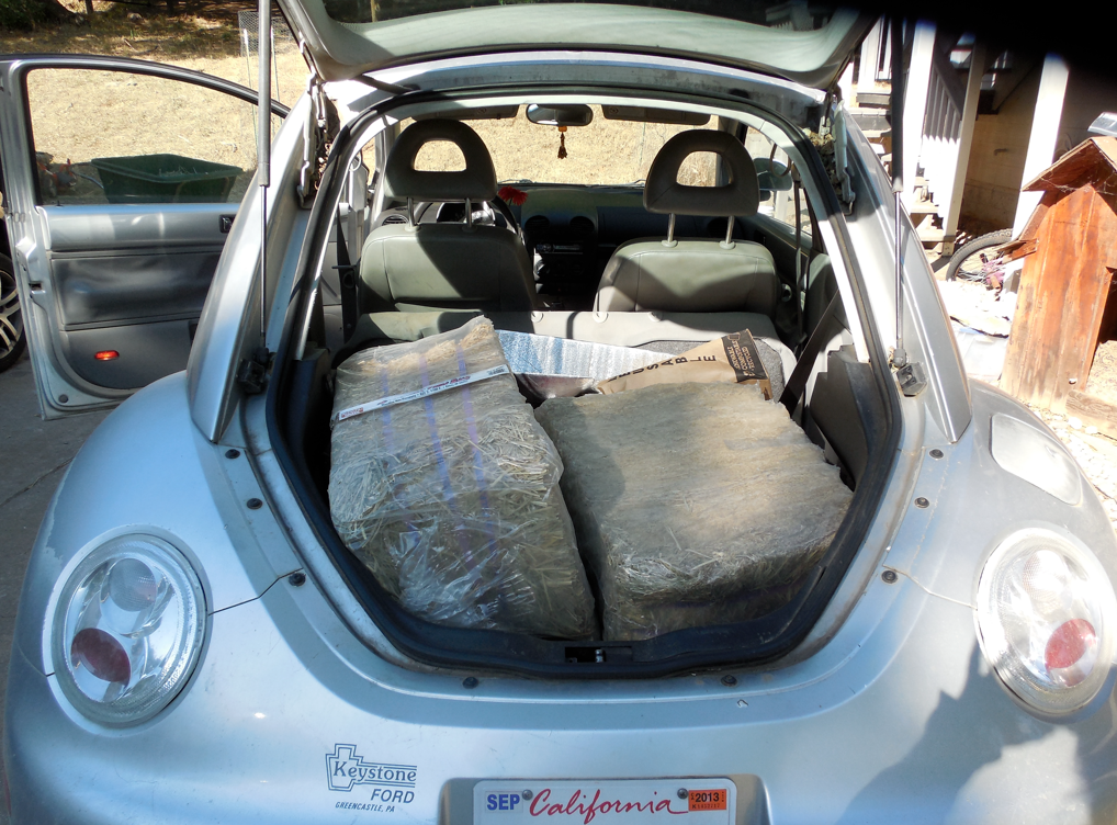 The compressed bales and feed bags in my Beetle!  I stored several bales in my car to make sure no one accidentally fed them to the other horses.