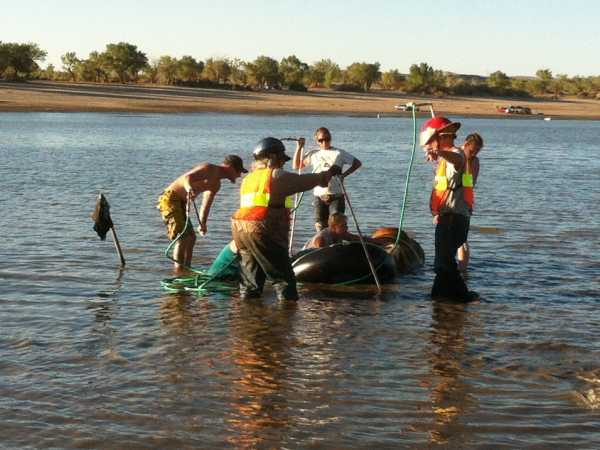 They saved this horse who was down in the water by transporting him on the Anderson Glide.